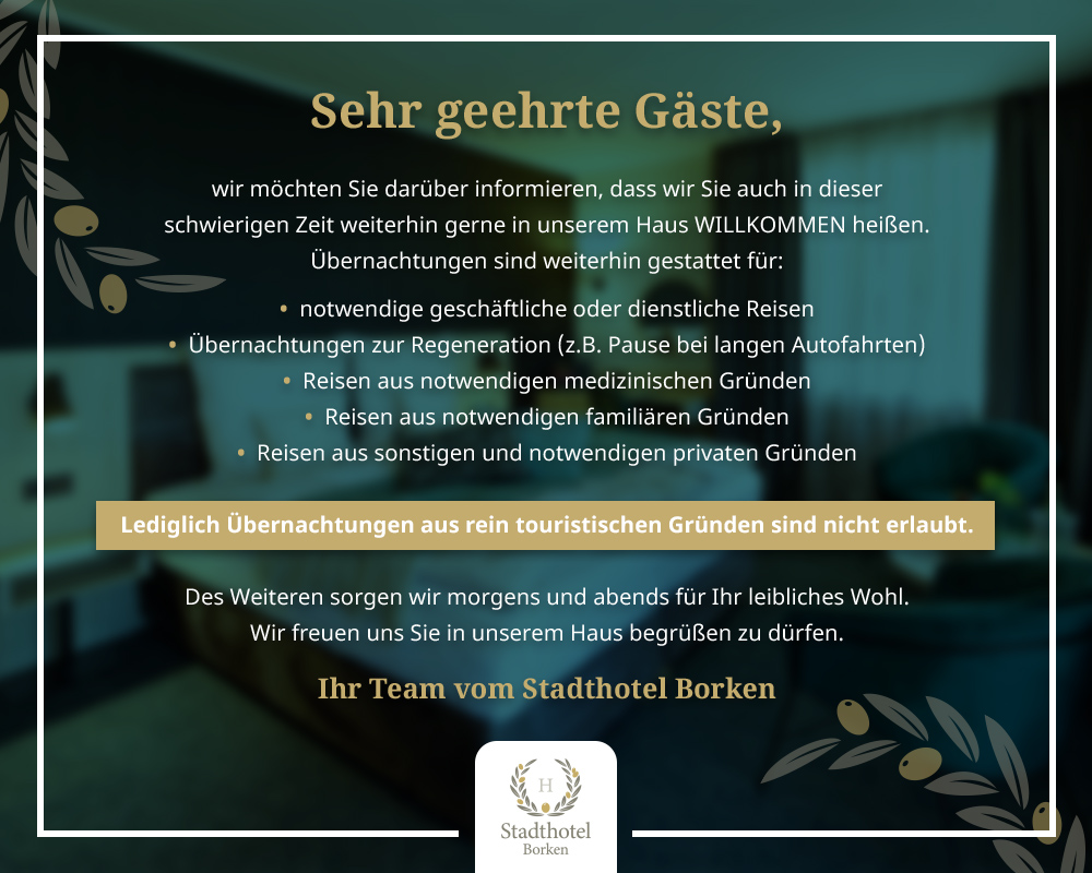 Stadthotel Borken Corona Informationen