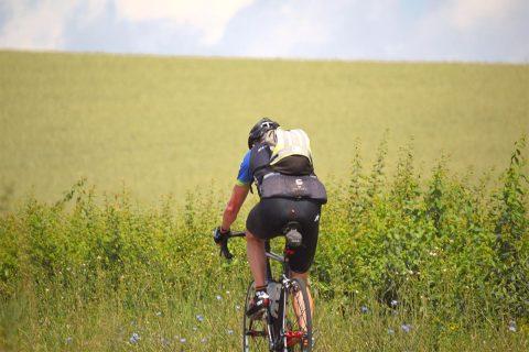 Fahrradfahrer fährt an Feld vorbei
